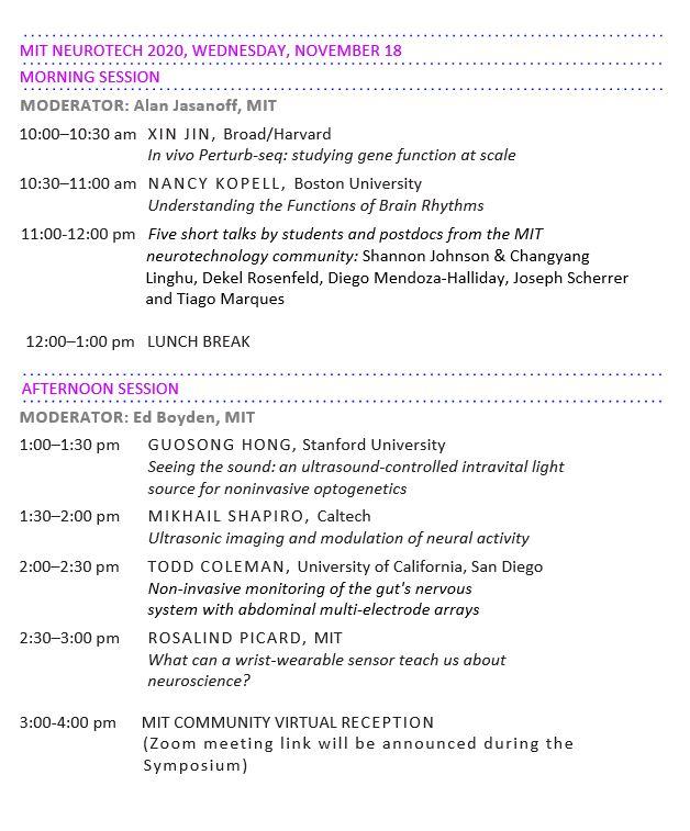 Neurotech 2020 schedule